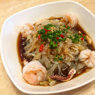 Chilled Jelly Fish with Seafood in Vinaigrette