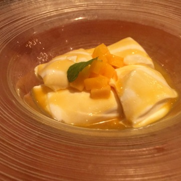 Amaretto Pannacotta with Mango Sauce