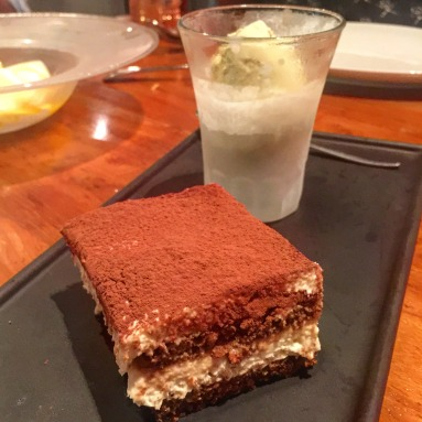 Tiramisu with Pistachio Ice Cream