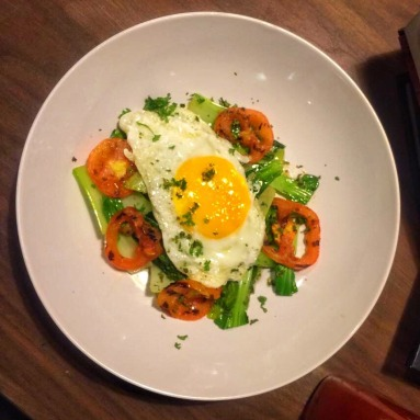 Wilted Taiwan Pechay with Tomato and Fried Egg